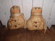 2 Primitive Grungy Snowman Snowmen Ornies Bowl Fillers Cupboard Tuck Handmade  #NaivePrimitive #handmade