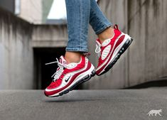 Women's Nike Air Max 98 White Black Gym Red Trainer,The new nike air max 98 is too practical, too beautiful! Sneaker Outfits, Nike Outfits, Sneaker Boots, Sneakers Mode, Red Sneakers, Air Max Sneakers, Sneakers Fashion, Nike Sneakers, Nike Air Max Sale