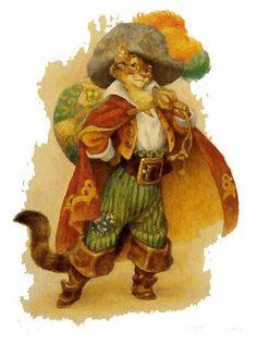Puss in Boots (original) Scott Gustafson Original Conceptual artwork Cat Character, Vintage Fairies, Fairytale Art, Children's Book Illustration, Cat Art, Illustrators, Fantasy Art, Fairy Tales, Drawings