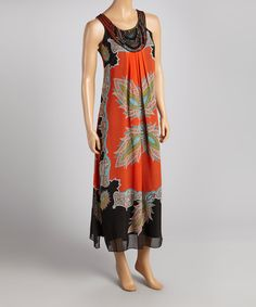 Take a look at this Voir Voir Orange & Green Arabesque Beaded Maxi Dress on zulily today!