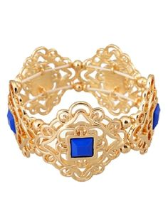 Shop Blue Rhinestone Diamond Floral Hollow Out Bracelet from choies.com .Free shipping Worldwide.$10.99