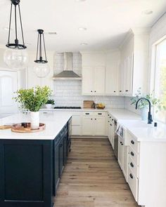 There is no question that designing a new kitchen layout for a large kitchen is much easier than for a small kitchen. A large kitchen provides a designer with adequate space to incorporate many convenient kitchen accessories such as wall ovens, raised. Farmhouse Kitchen Decor, Home Decor Kitchen, New Kitchen, Eclectic Kitchen, Kitchen Modern, Minimal Kitchen, Scandinavian Kitchen, Modern Kitchens, Cheap Kitchen