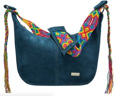 Leather Boho Bag Hand-Embroidered Strap, by Mexican Women Artisans navy blue Tooled Leather Purse, Suede Leather, Leather Crossbody, Leather Handbags, Beautiful Handbags, Blue Suede, 5 D, Fashion Bags, Mexican