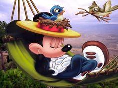 Mickey Mouse Sleeping On Hammock