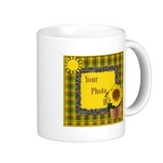 You Are My Sunshine Sunflower Photo Mug - You are my sunshine picture frame. Graphic design using summer/fall colors of greens, russet and yellows. Glass flower element with a plaid frame background trimmed in sunflowers and topped off with a green plaid ribbon and bow. Text around the sunshine reads: You are my sunshine. Delete my photo layer and insert the photo of your choice. Please see my store for more sunshine and sunflower products to coordinate. #zazzle mug #sunflower #sunshine