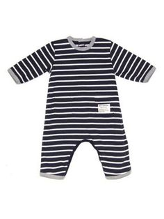 Petit Bateau Baby all-in-one in sailor-stripe Navy - House of Fraser