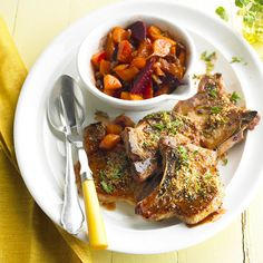 These Crispy Honey-Mustard Pork Chops use ingredients that most pantries have on hand! Try them tonight: http://www.bhg.com/recipes/quick-easy/simple-dinners-from-pantry-staples/?socsrc=bhgpin101713crispyhoneymustardporkchops&page=1