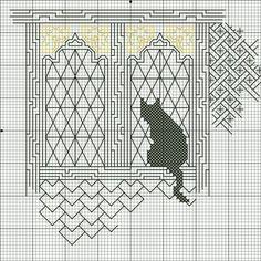 cat kot holbein stitch