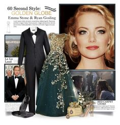 """Golden Globes: Emma Stone & Ryan Gosling"" by thewondersoffashion ❤ liked on Polyvore featuring Giorgio Armani, Saks Fifth Avenue Collection, Georges Hobeika, Nancy Gonzalez and Rina Limor"