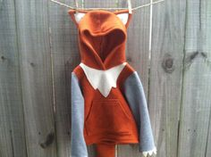 Fleece Fox Hoodie Red Fox Costume by TheTreeHouseKid on Etsy