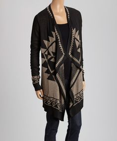 Another great find on #zulily! Mocha & & Black Tribal Open Cardigan by staccato #zulilyfinds