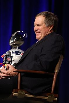 Coach Bill Belichick, smiling! Awesome! #GoPatriots