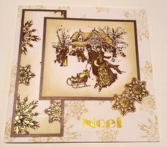 Handmade card. Ice Skating Art Stamp, Snowflakes Art Stamp, Distress inks.