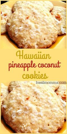Hawaiian Pineapple Coconut Cookies Recipe - The perfectly sweet, chewy cookie! - Delicious Cookie Recipes - Hawaiian Pineapple Coconut Cookies Recipe – The perfectly sweet, chewy cookie! Get the recipe fro - Pineapple Cookies, Pineapple Coconut, Hawaiian Cookies, Pineapple Dessert Recipes, Hawaiian Dessert Recipes, Crushed Pineapple, Pineapple Candy Recipe, Hawaiian Candy, Hawaiian Snacks