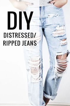 A DIY Tutorial. Join me and learn how to do your very own pair of DIY distressed jeans. It's not too hard it just takes a little patience! #diyjeans #diydistressedjeans #diyrippedjeans #diy Diy Jeans, Löchrige Jeans, Holey Jeans, Ripped Jeggings, Ripped Skinny Jeans, Diy Ripped Jeans Tutorial, How To Make Ripped Jeans, Diy Clothes Jeans, Destroyed Jeans