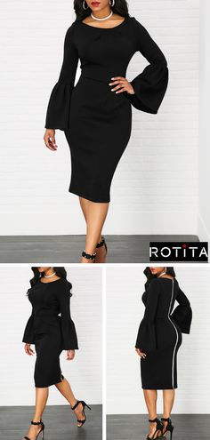 High Waist Zipper Back Flare Sleeve Black Dress .Shine bright all seasons long from Rotita.Add a few subtle accessories and you've got a head-to-toe look that will turn heads at the holiday party. Dressy Dresses, Sexy Dresses, Nice Dresses, Beautiful Dresses, Party Dress Sale, Club Party Dresses, Wedding Dresses, Hot Outfits, Pretty Outfits