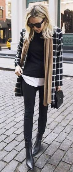checked coat. black + white outfit. street style.