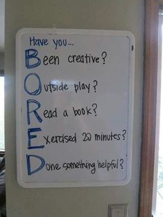 Bored sign Summer Bucket Lists, School Subjects, Washington State, Sheet Pan, Parenting Plan, Programming, Home Decor, Back To School, Grandkids