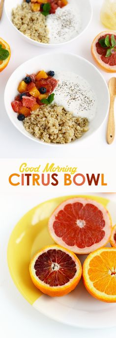 Get creative with breakfast and make this Citrus Breakfast Bowl made with chia yogurt, short grain brown rice, and your favorite citrus fruit!