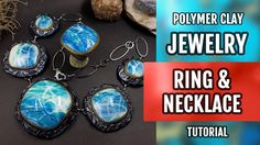 DIY How to Make beautiful Necklace and Unique Ring with Faux Larimar. Po...