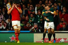 Rugby World Cup 2015 - WAILS: Captain Sam Warburton buries his face in his shirt in disappointment and despair as Fourie Du Preez celebrates his winning try with South Africa teammate Bryan Habana
