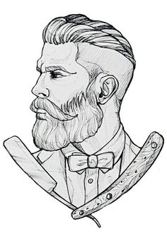 Arte barbeiro Barber Logo, Barber Tattoo, Barber Shop, Beard Logo, Beard Tattoo, Tattoo Sketches, Art Sketches, Old Scool, Mustache Styles