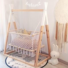 Our suspended cradle won a teepee support! ❤️ When Karen Caldwell published the Lonô b Baby Bedroom, Baby Room Decor, Nursery Room, Kids Bedroom, Baby Swings, Baby Hammock, Baby Furniture, Baby Cribs, Girl Room