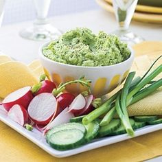 Healthy Appetizer Recipes | Roasted Garlic-Edamame Spread | SouthernLiving.com food-love healthy-foods