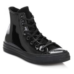 Converse Womens Black All Star Hi Patent Leather Trainers - Trouva