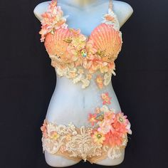 Peachy Mermaid Monokini by Pixie Glitz Shop Dance Costumes, Halloween Costumes, Mermaid Costumes, Shell Bra, Mermaid Top, Mermaid Outfit, Unique Costumes, Blush And Gold, Rave Wear
