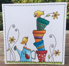 Painting – Cards – The post Painting – cards – appeared first on Woman Casual - Drawing Ideas Paint Cards, Happy Paintings, Watercolor Cards, Watercolour, Mail Art, Whimsical Art, Homemade Cards, Doodle Art, Cardmaking