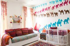 Laura U Interior Design   www.laurau.com Southampton Moroccan Interior Design #kidsroom #moroccan #nursery #bedroom #whimsical #headboard  #colorful #fun #playful #interior #interiordesign #camel #wallart #wallpaper