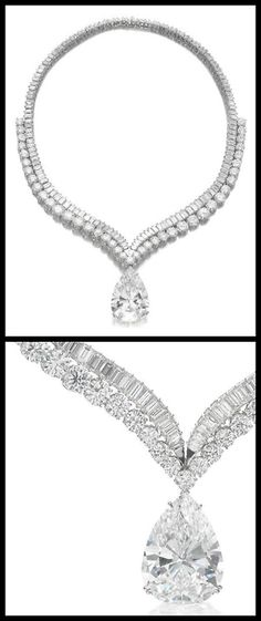 Highly important diamond necklace with 41.40 carat diamond drop.