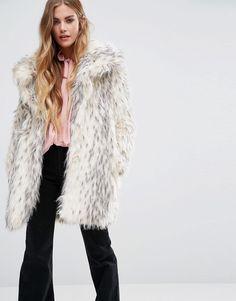 Glamorous Shawl Collar Coat In Snow Leopard Faux Fur