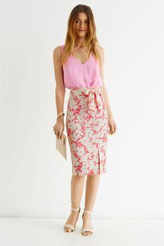 Pink floral print pencil skirt.