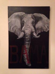 Roll Tide Alabama Elephant Painting, Original Oil Painting On Canvas #Roll Tide #alabama #Elephant #Painting #sale #marked @ 20% off #shop #pj svedja