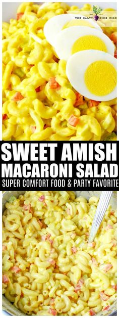 Amish macaroni salad is a sweet macaroni salad with a bit of a tangy crunch from all the delicious veggies folded in side. Super creamy and a perfect cold side dish, this is the best Amish Macaroni Salad recipe to feed a crowd. Homemade Macaroni Salad, Amish Macaroni Salad, Macaroni And Cheese, Mac Cheese, Thanksgiving Side Dishes, Thanksgiving Recipes, Winter Recipes, Amish Recipes, Cooking Recipes