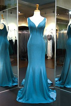Sexy Plunging Neckline Sleeveless Teal Satin Evening Prom Dress