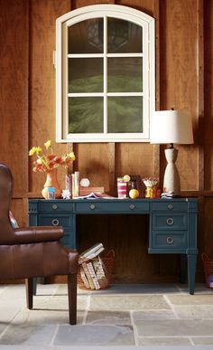 Rustic office space... Love the blue