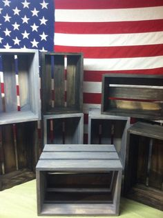 Rustic Display Crates Site has multiple colors, styles and sizes + free shipping