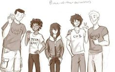 My boys. (From left to right) Frank Zhang, Leo Valdez, Nico Di Angelo, Percy Jackson, and Jason Grace
