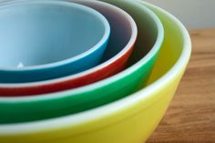 Primary Color Pyrex Mixing Bowels...Raise your hand if you grew up with a set in your kitchen!  We had these!!
