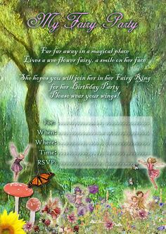 Right click the image to save to your computer. Then just print and use! Fairy Party + Toadstool Cake Ideas and How To's See Belo. Birthday Party Invitations Free, Fairy Birthday Party, Garden Birthday, 6th Birthday Parties, Birthday Ideas, Themed Parties, Baby Birthday, Fairy Tea Parties, Tinkerbell Party