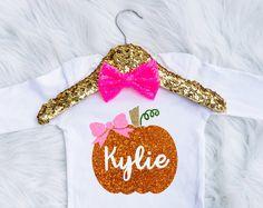 Baby Girl's Pretty Personalized Pumpkin Onesie - Thanksgiving Onesie - Halloween Onesie - Pumpkin Bow - Pumpkin Shirt - Fall Onesie