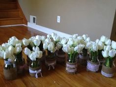 Lace and Burlap Wedding Centerpieces | Mason Jar Centerpieces With Silk Tulips 48% Off| Tradesy Weddings