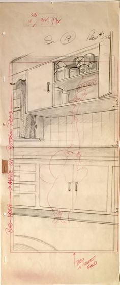 """Animation Collection: Original Pan Production Animation Background Layout Drawing of Jerry and Jumbo from """"Jerry and Jumbo,"""" 1953"""