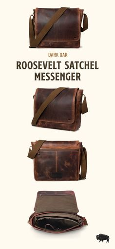 Men's vintage full-grain brown leather satchel messenger bag. Handcrafted to handle work, travel, or adventure. This just-right, not-too-bulky size will fit up to 15-inch laptops. Adjustable canvas shoulder strap for wearing cross body and casual. Rugged craftsmanship for the win. Great gift for him. Mens Leather Satchel, Leather Men, Leather Bags, Leather Handbags, Vintage Messenger Bag, Messenger Bags, Waxed Canvas Bag, Men With Street Style, Briefcase For Men