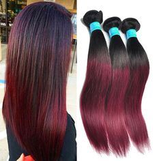 50g/pc Ombre Real Human Hair Extensions Straight Hair Weaving Weft Grade 6A #WIGISS #HairExtension