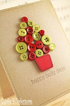 Christmas Tree Button Greeting Card