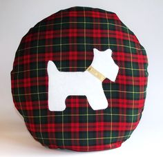"Another of my Tartan handmade cushions, have a look! 18"" Tartan Round cotton cushion with felt by TheCraftyFoxBoutique, £24.99"